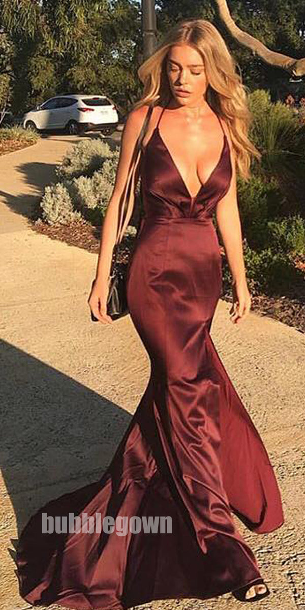 Sexy Cheap Open Back Simple Mermaid Side Split Long Prom Dresses, BGP085