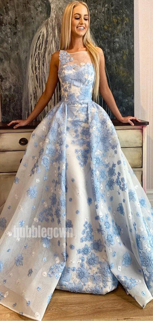 Blue Applique A-line Sleeveless Long Prom Dresses FP1167