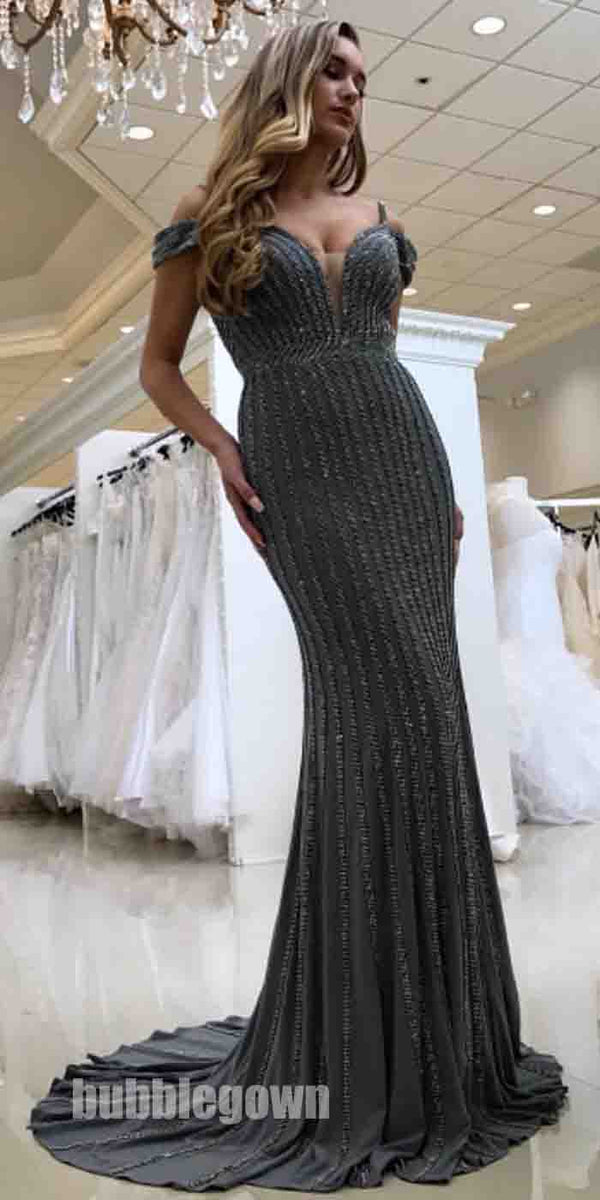 Charming Beaded Off the Shoulder Straps Mermaid Sexy Long Prom Dress, BGP082
