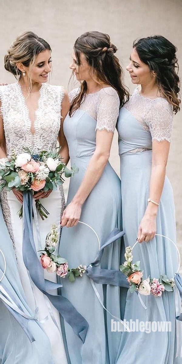 Short Sleeves Blue Elegant Long Bridesmaid Dresses, WP0025