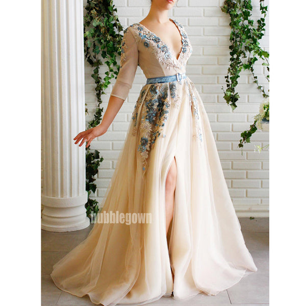 Long Sleeves V-neck Side Split A-line Long Prom Dresses FP1123