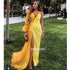 Yellow One Shoulder Side Split Long Prom Dresses FP1116