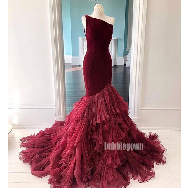 One Shoulder Mermaid Tulle Velvet Long Prom Dresses GDW111