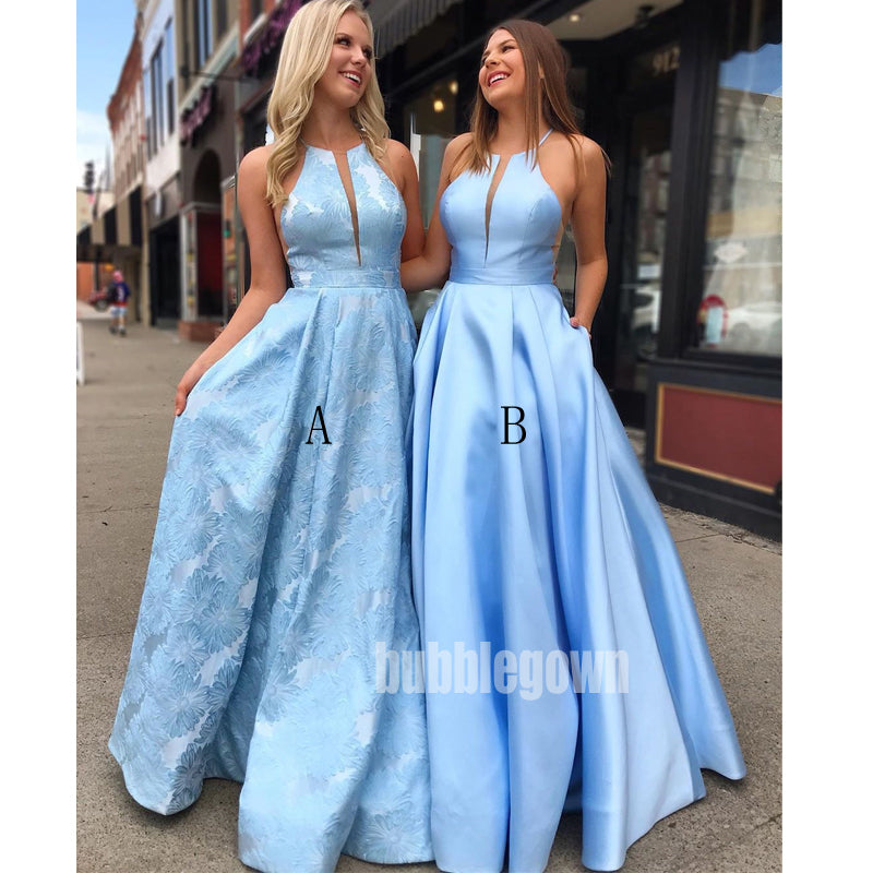 Blue A-line Elegant Affordable Long Prom Dresses GDW113