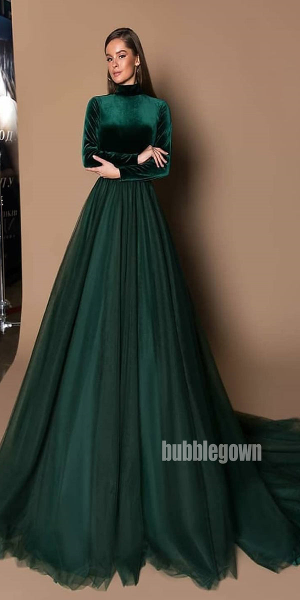 Teal Green Long Sleeves High Neck Long Prom Dresses FP1118
