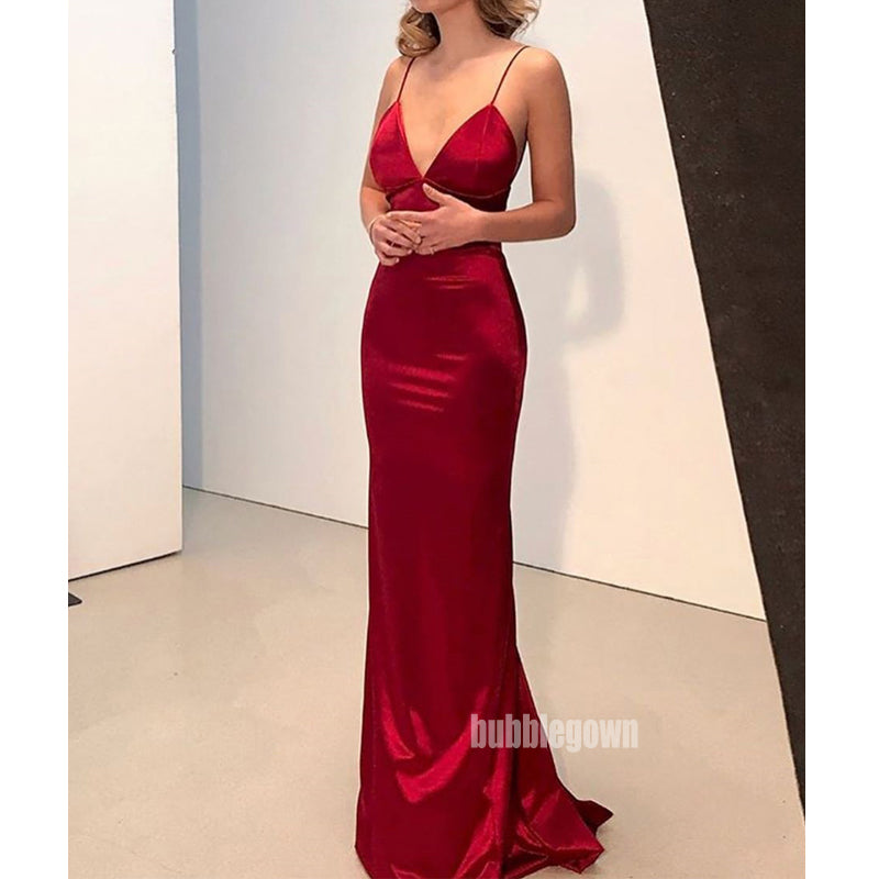 Spaghetti Strap Simple Cheap Long Prom Dresses FP1119