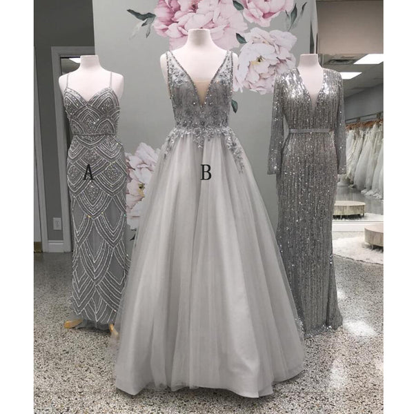 Beaded V Neck Tulle Gray Evening Party Long Prom Dresses, WP014