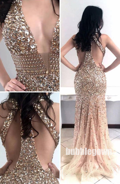 Deep V Neck Sexy Mermaid Backless Heavy Beaded Long Evening Prom Dress, BGP050