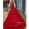 Red Halter Tulle Lace Long Prom Dresses Ball Gown GDW103
