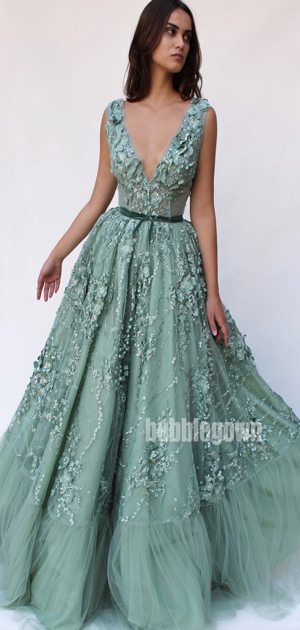 V-neck Applique Unique Tulle Long Prom Dresses FP1138