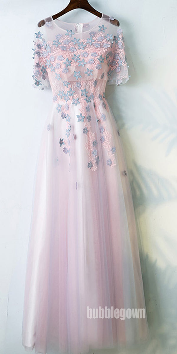 Charming Half Sleeves Tulle Applique Light Pink Cheap Long Prom Dresses, BGP021