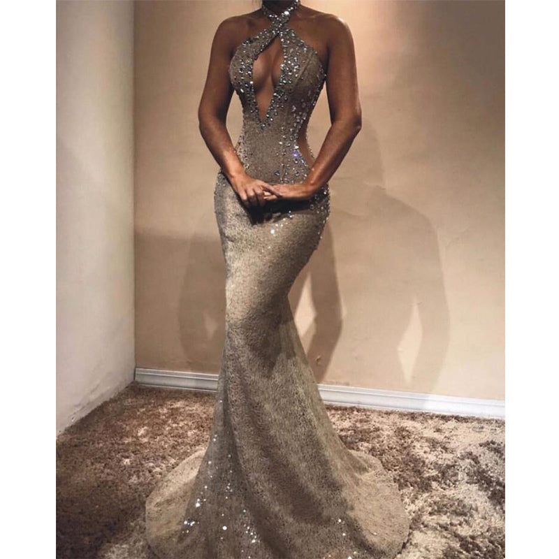 Lace Mermaid Halter Sexy Evening Long Prom Dresses, WP012