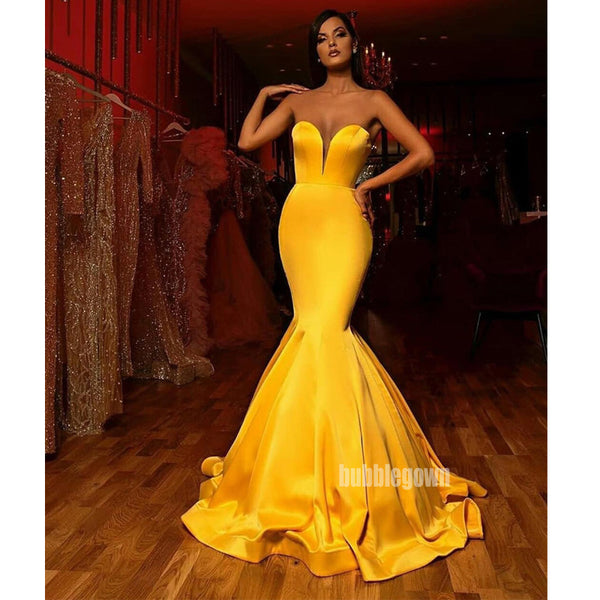 Yellow Mermaid Sweetheart Simple Long Bridesmaid Prom Dresses GDW104