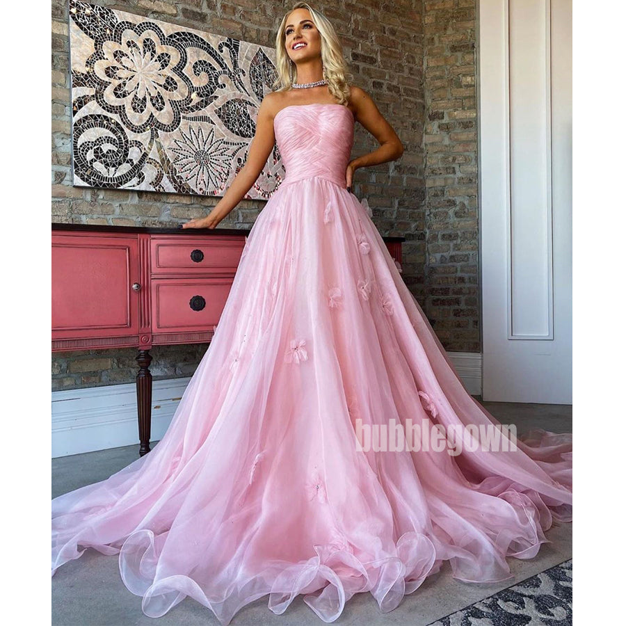 Pink Tulle Straight Neckline Sleeveless Long Prom Dresses FP1170