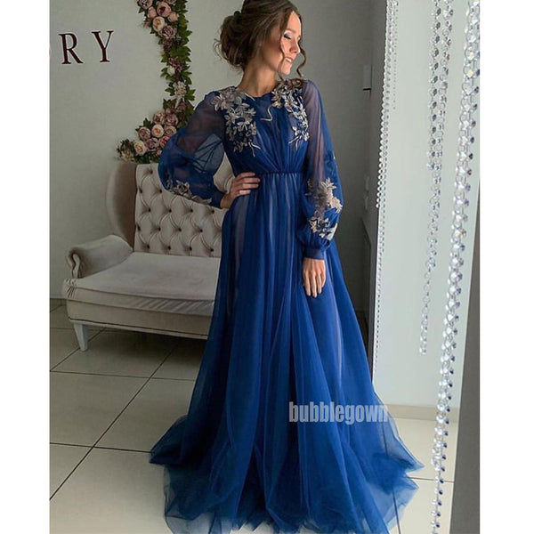 Long Sleeves A-line Applique Long Prom Dresses FP1129