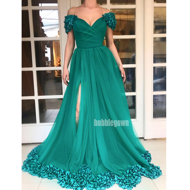 Off the Shoulder A-line Side Split Tulle Long Prom Dresses FP1136