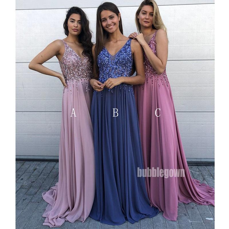 Beaded V-neck Chiffon A-line Long Prom Dresses FP1111