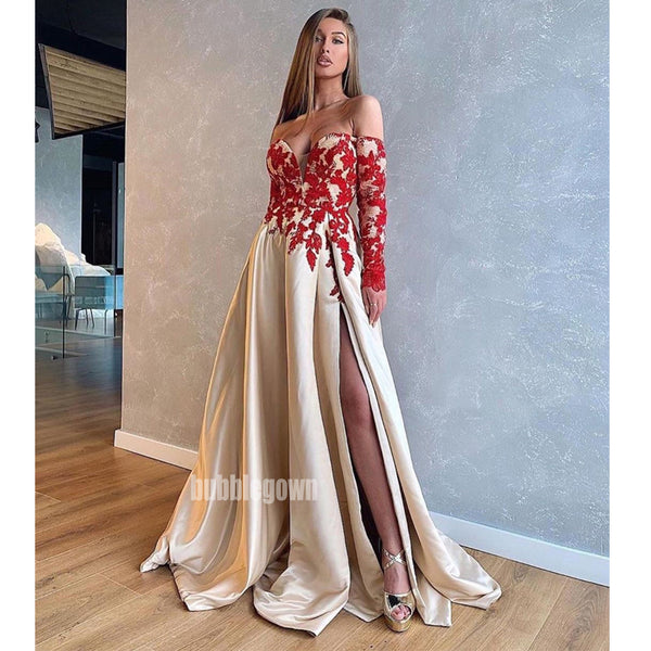 Off the Shoulder Long Sleeves Side Split Long Prom Dresses FP1133
