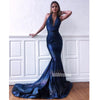 Halter Mermaid Open Back Sexy Long Prom Dresses FP1142