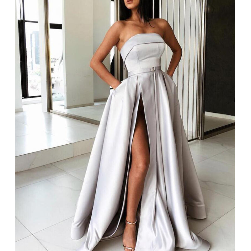 A Line Side Slit Simple Design Elegant Long Prom Dresses, WP021