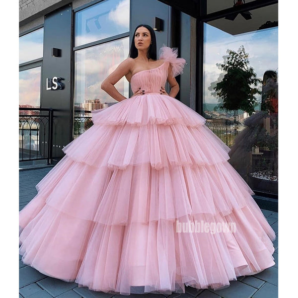 Pink One Shoulder Tulle Long Prom Dresses Ball Gown GDW105