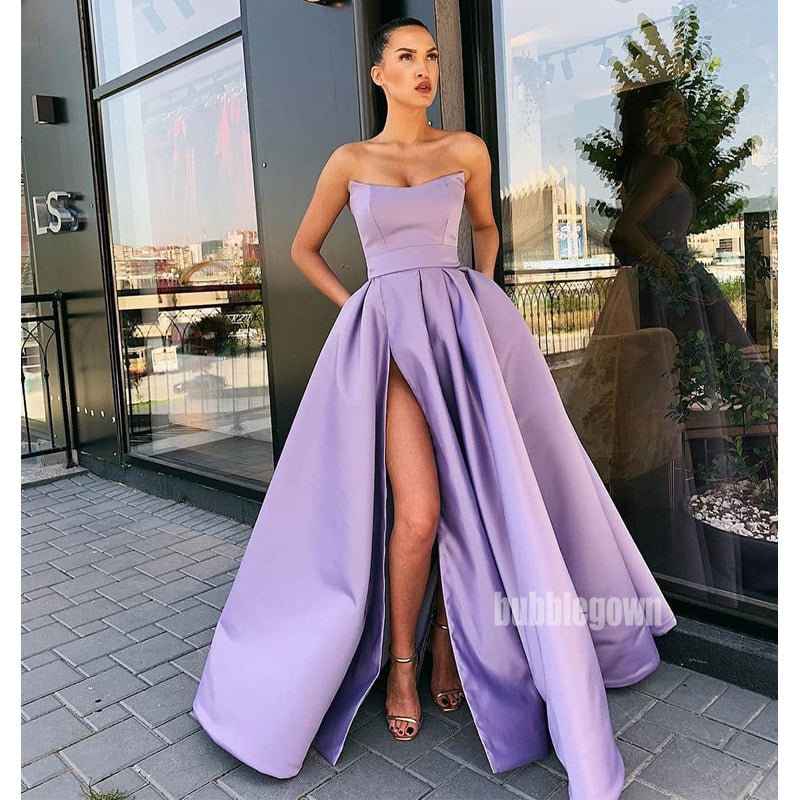 A-line Simple Cheap Side Split Long Prom Dresses FP1132