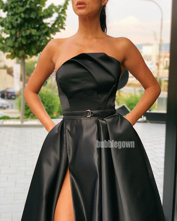Elegant Black A-line Side Slit Long Prom Dresses FP1144