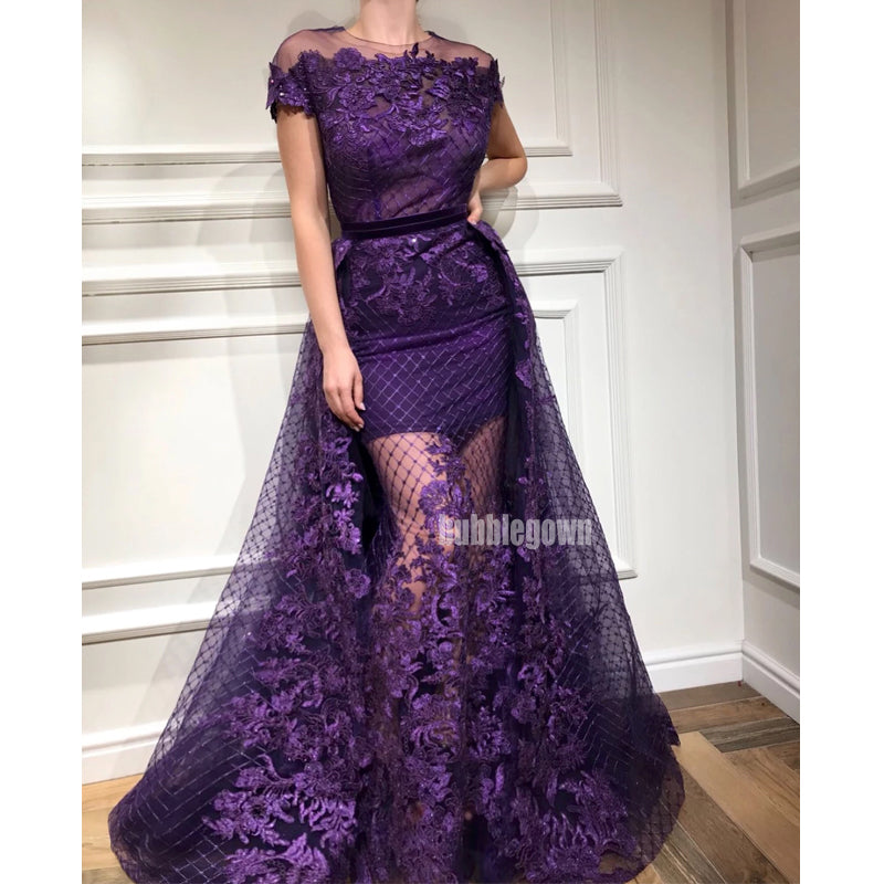 Short Sleeves Lace Applique Long Prom Dresses FP1120