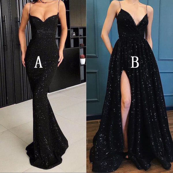 Spaghetti Strap Black Sparkle Popular Long Prom Dresses, WP005