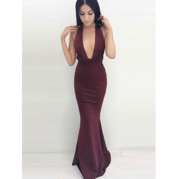 Sexy Mermaid Burgundy Deep V Neck Backless Cheap Long Prom Dresses, BGP213