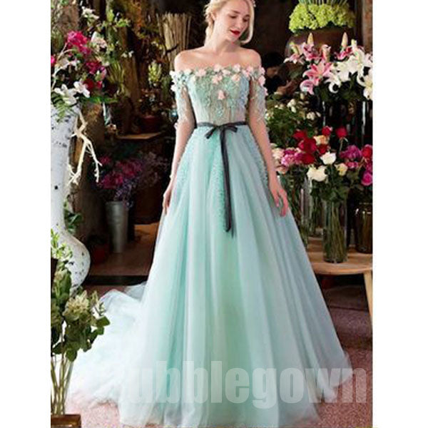 Off the Shoulder Charming Half Sleeves Long Evening Prom Dresses, BGP043