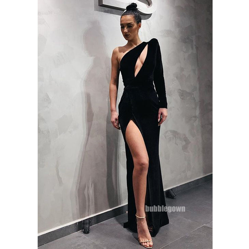 Black One Shoulder Sexy Side Slit Long Prom Dresses, WP031