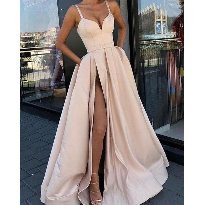 Spaghetti Strap Sweetheart Side Slits A Line Long Prom Dresses, WP009