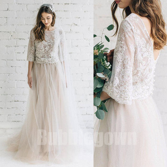 Long Sleeves Two Pieces Unique Inexpensive Lace Long Wedding Prom Dresses, BGP037