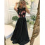 Modest Black Sleeveless Applique Formal A Line Cheap Long Prom Dresses, BGP220