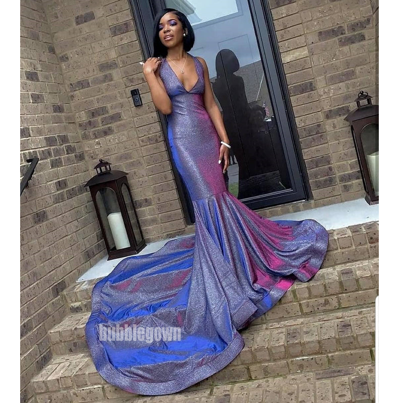 Mermaid V Neck Sexy New Arrival Long Prom Dresses WP035