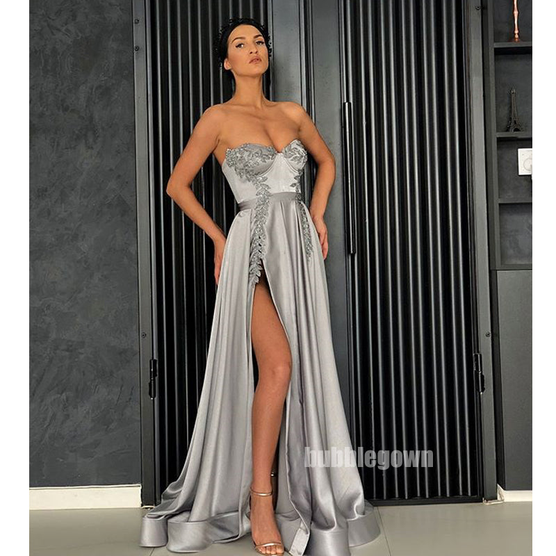 Sweetheart Side Slit A Line Silver Long Prom Dresses, WP033