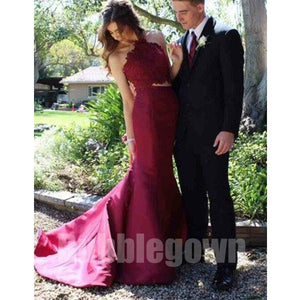 2 Pieces Haler Mermaid Sexy Cheap Long Bridesmaid Prom Dresses, BGP035