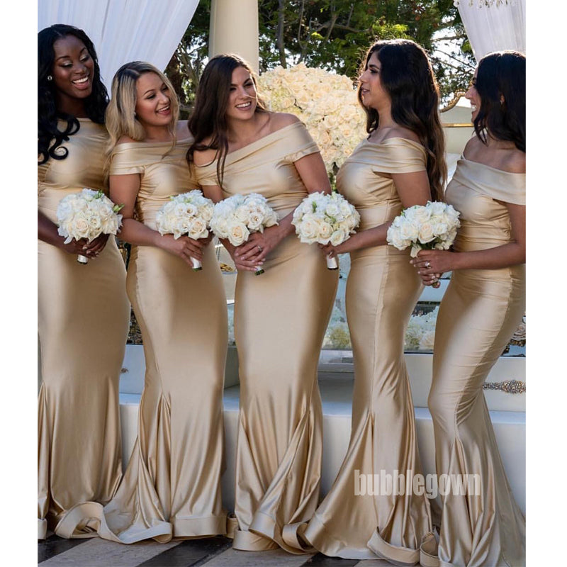 Off the Shoulder Mermaid Long Bridesmaid Dresses, WP026