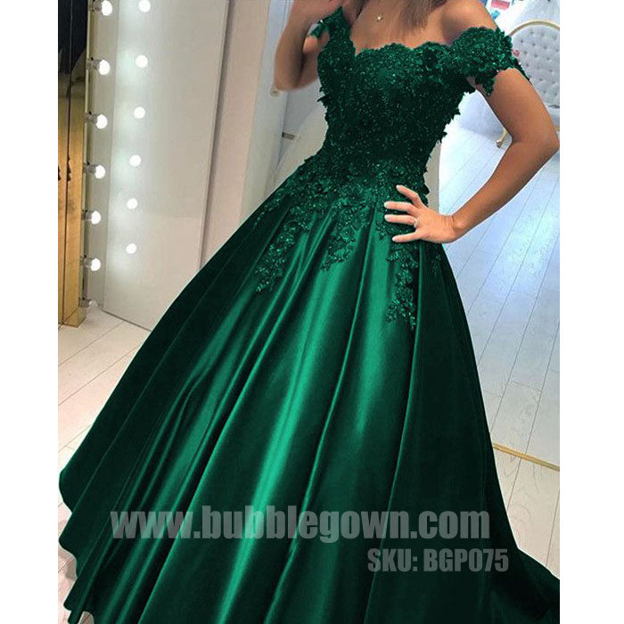 Off the Shoulder Green Elegant Formal Cheap Long Prom Dress, BGP075