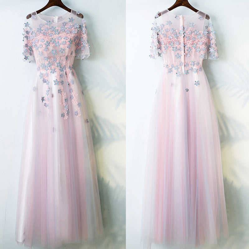 Charming Half Sleeves Tulle Applique Light Pink Cheap Long Prom ...