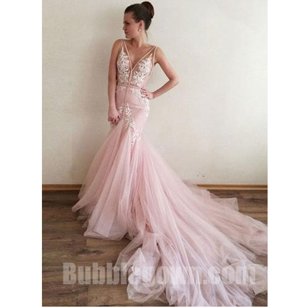 Pink V Neck Applique Tulle V Back Mermaid Inexpensive Long Prom Dress, BGP065