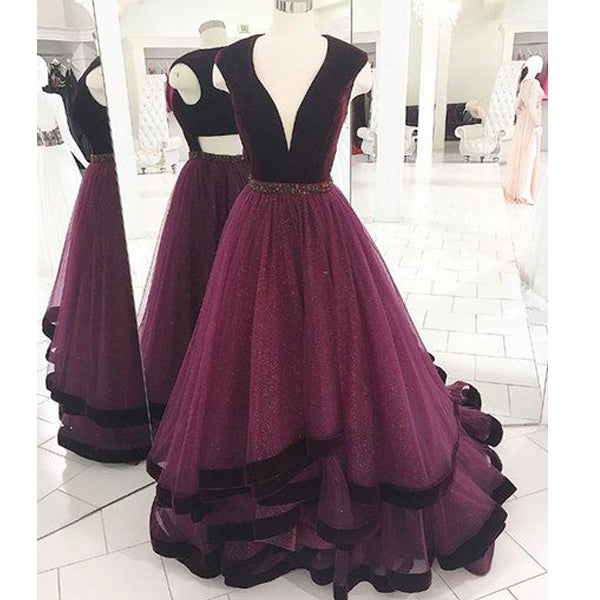 Charming Grape Sexy Open Back Affordable Long Prom Dress, BG51086 - Bubble Gown