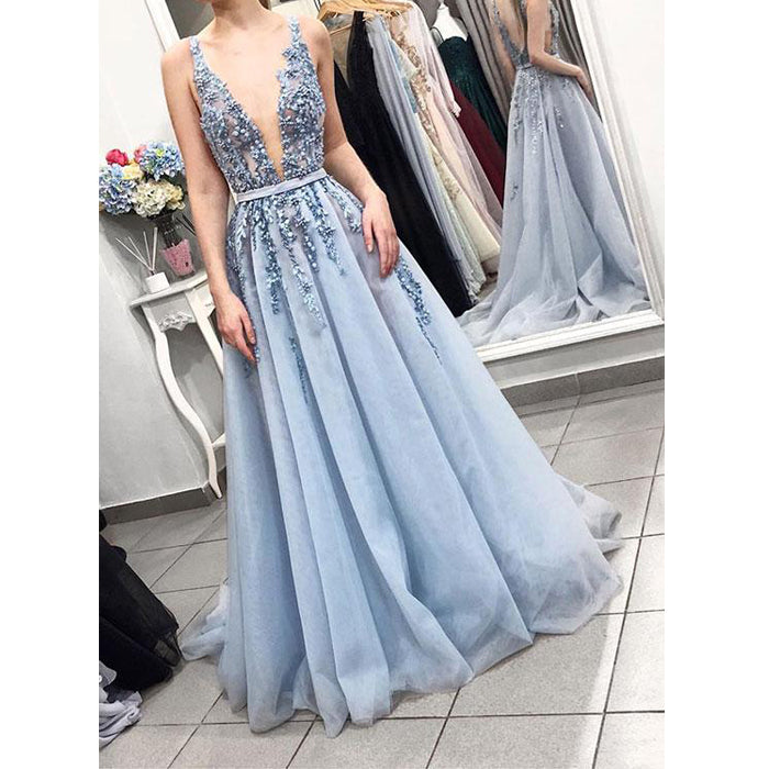 Blue Sexy Deep V Neck Tulle Applique Long Prom Dresses, BGP226