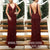 Burgundy V Neck Formal V Back Elegant Evening Long Prom Dress, BGP094