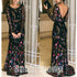 Black Long Sleeves V Back Gorgeous Embroidery Long Evening Prom Dress, BGP047 - Bubble Gown