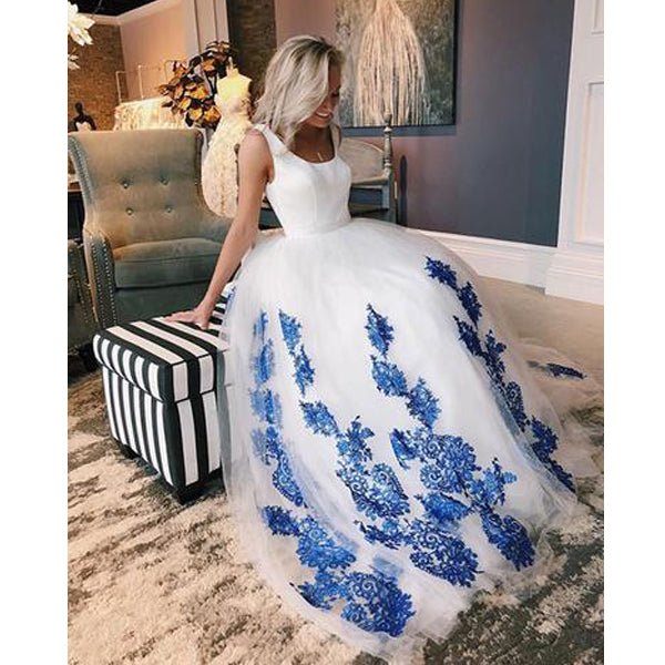 Popular On Sale Formal A Line Elegant Blue Applique Long Prom Dresses, BGP216