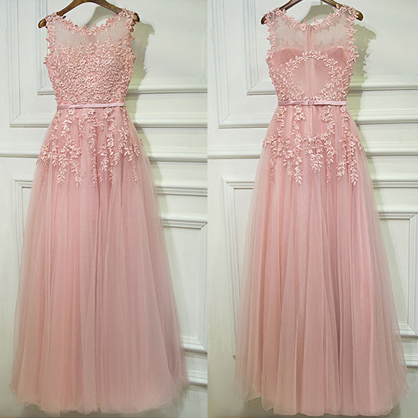 Formal Blush Pink A Line Cheap Long Prom Dresses, BGP001 - Bubble Gown