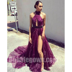 Cheap Sexy Halter Side Split On Sale Long Evening Prom Dress, BGP057