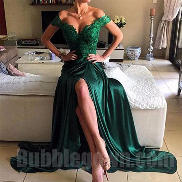 Off the Shoulder Green Lace Top Side Split Sexy Long Evening Prom Dress, BGP054